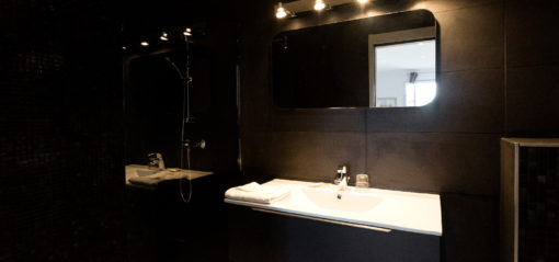 Chambre twin avec deux lits séparés et salle de bain avec douche
